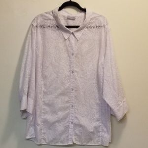 Catherines White Paisley Button Up 5x